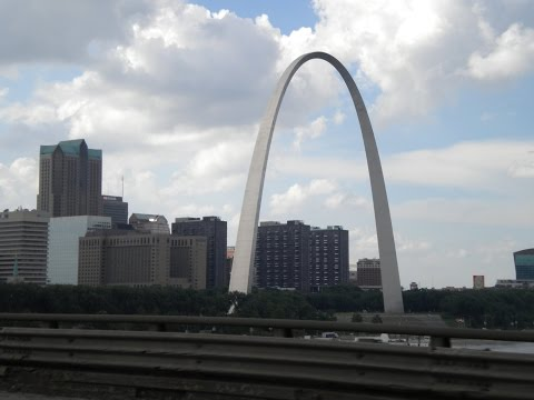 A view of the Mississippi River and the Gateway Arch in St. Louis Missouri USA