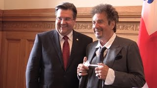 Actor Al Pacino receives the keys to the city of Montreal