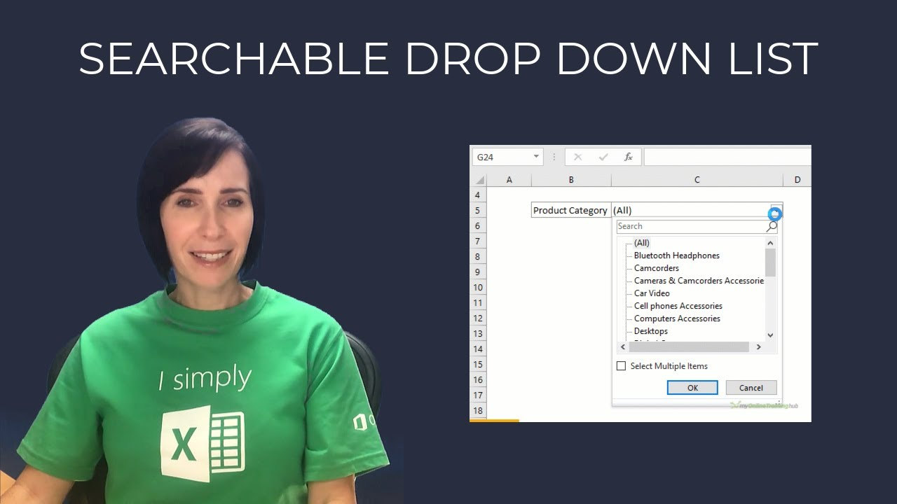 Excel Searchable Drop Down List - No VBA and No Formulas!