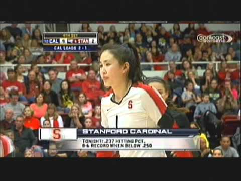 Stanford chinese volleyball player Lydia Bai in action vs Cal