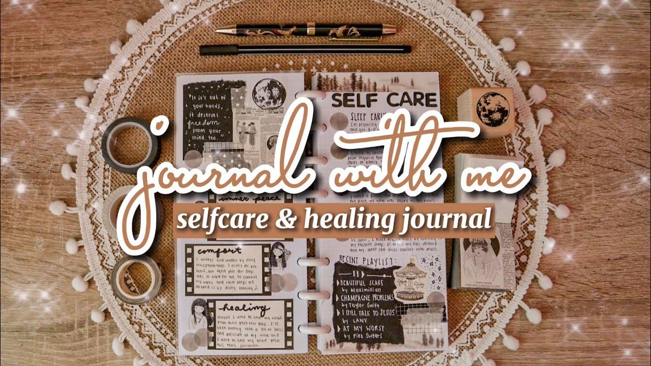 self care & healing journal ☁️ monochrome spread