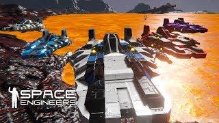 Space Engineers - Star Wars Lava Race - A-Wings On Mustafar