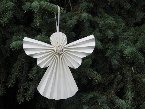 Diy accordion 3d paper angel christmas decoration for Angel decoration