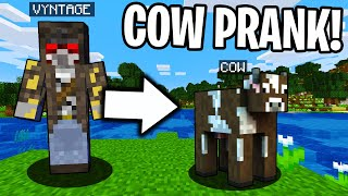 PRANKING AS A COW IN MINECRAFT! - Minecraft Trolling Video