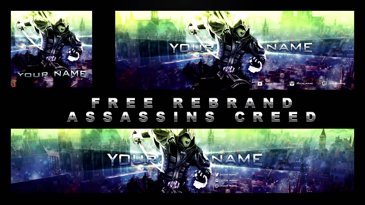 Free Assassins Creed Rebrand Template Youtube Banner Twitter