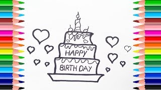 How to Draw Birthday Cake and big Heart, small heart for kids. Learn colors art for children