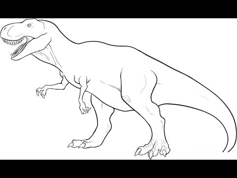 Pk How to draw DINOSAUR T REX in SIMPLE LINES