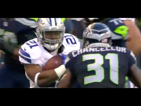 Ezekiel Elliott Meets Kam Chancellor Head On