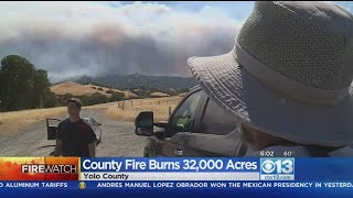 County Fire Burns From Yolo Into Napa County