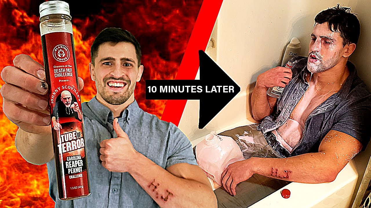 Trying not to Die after Eating the WORLD'S HOTTEST PEANUTS | Bodybuilder VS Tube of Terror Challenge