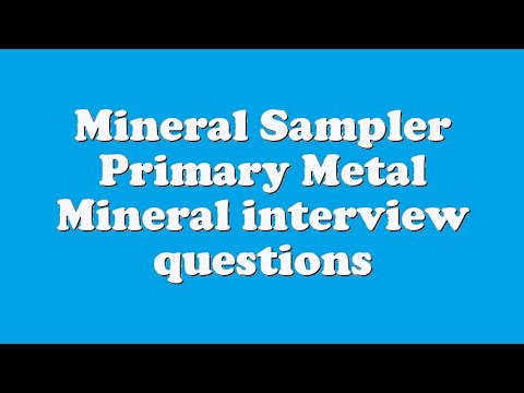 Mineral Sampler Primary Metal Mineral interview questions