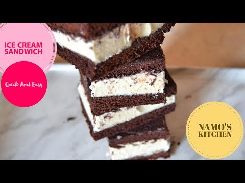 Quick And Easy Vanilla  Ice Cream Sandwich With Chocolate Cake   Summer Desserts Recipes For Kids