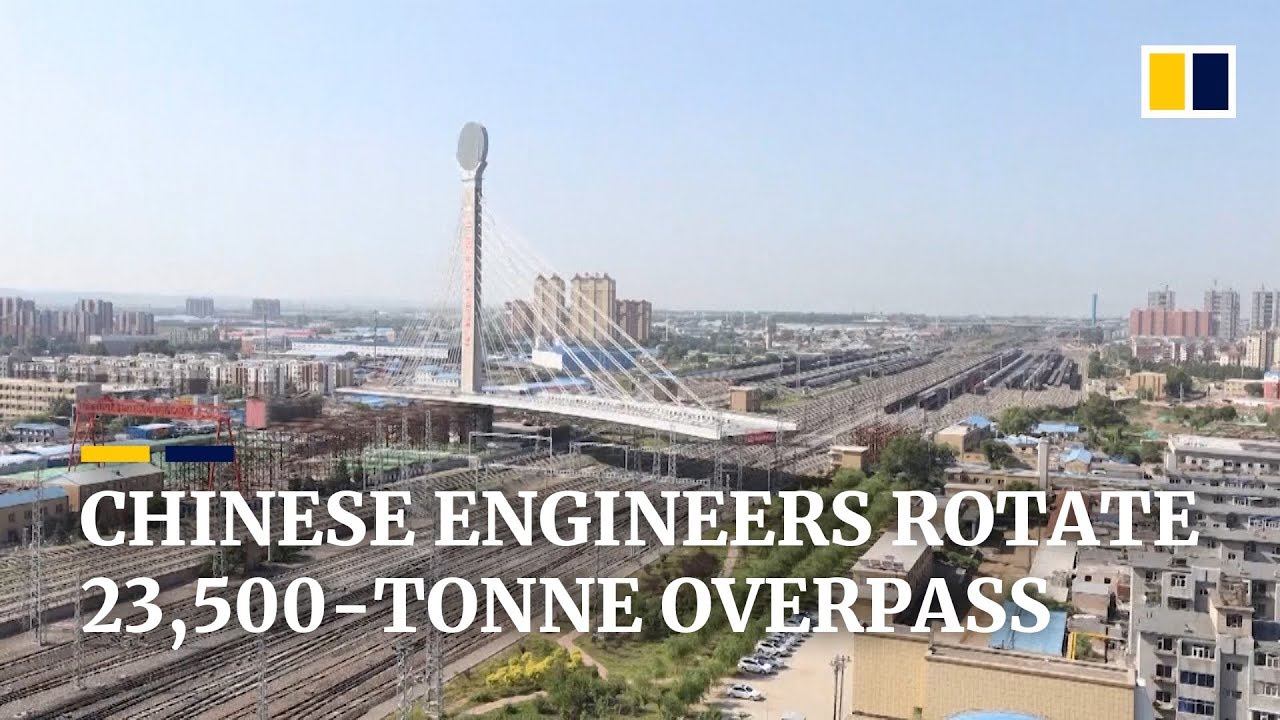 Chinese engineers rotate 23,500-tonne overpass in just 2 hours