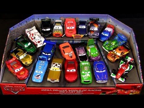 22-Cars Chrome Metallic Finish Cars 2 Mega Deluxe World of Racing Diecast Set Disney Pixar toys
