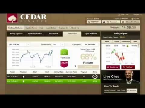 binary options review Cedar Finance :live trading