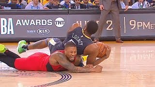 Damian Lillard Injured By Kevon Looney Who Falls On Him Resulting In Separated Ribs During Game 2! thumbnail