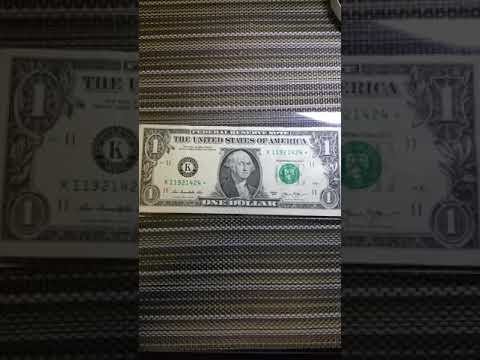 Star note us $1 bill with the letter k
