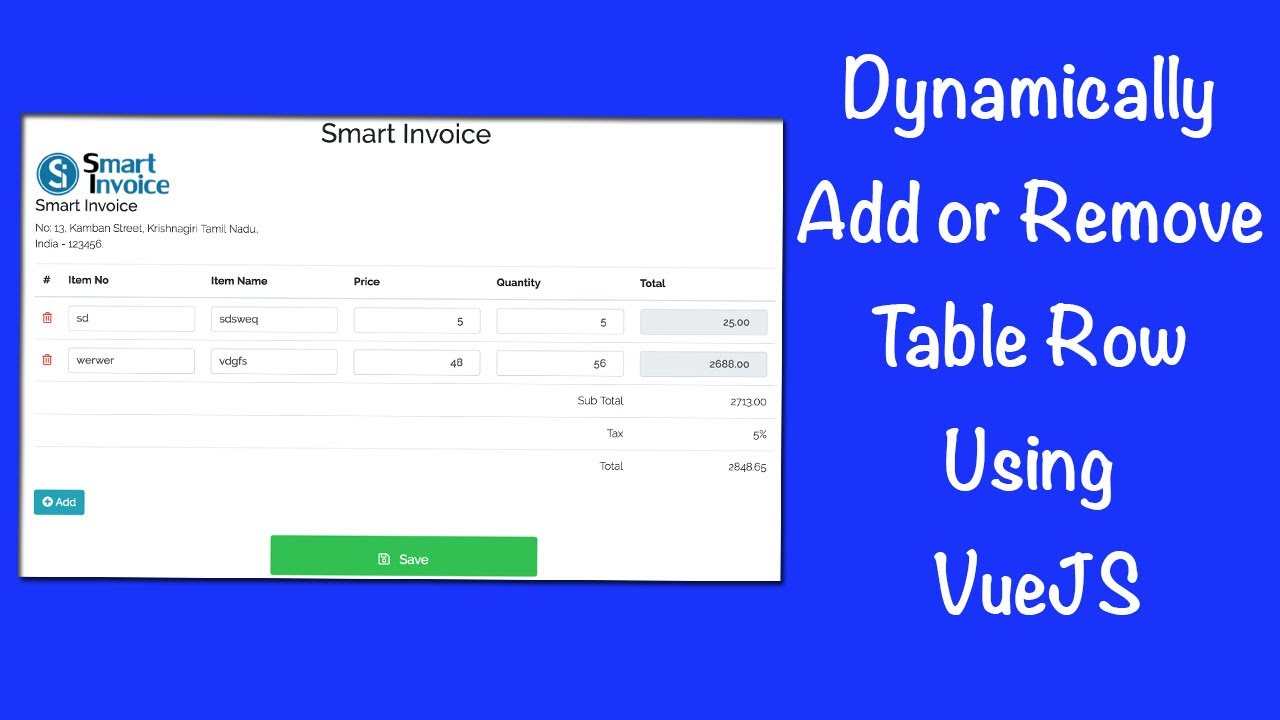 Dynamically Add or Remove Table Row Using VueJS - SmartTutorials net