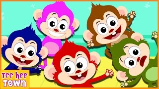 Five Little Monkeys Jumping On The Bed | 5 Cheeky Monkeys | Nursery Rhymes Collection by Teehee Town thumbnail