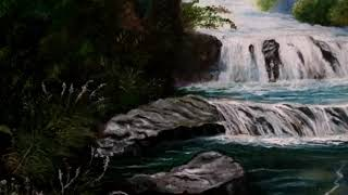 Connect with nature .Landscape painting .Forest waterfall oil painting