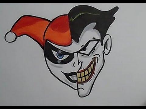 Speed Drawing Half Harley Quinn Half Joker Youtube