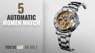 Top 10 Automatic Women Watch [2018]: GuTe Women Automatic Watch,Minimalist Steampunk Gold-Tone Movt