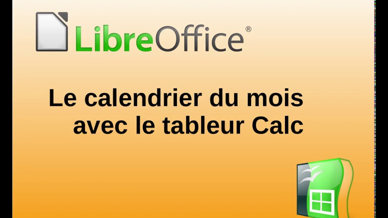 cr ation d 39 un calendrier mensuel avec libreoffice calc youtube. Black Bedroom Furniture Sets. Home Design Ideas