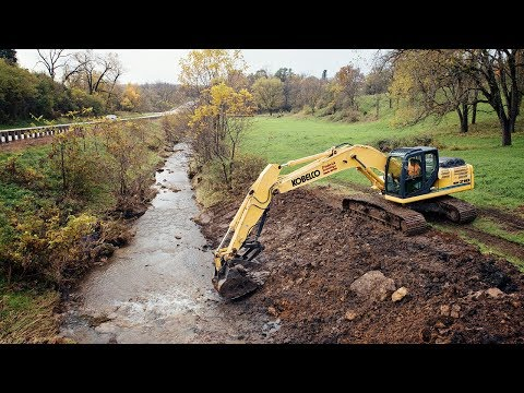 Creek Dredging - Filling Washout With Excavator