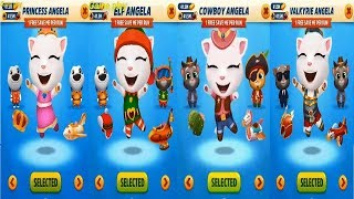 Talking Tom Gold Run PRINCESS ANGELA vs ELF ANGELA vs COWBOY ANGELA vs Valkyrie Catch the Raccoon