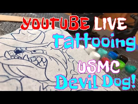 Tattooing a USMC Devil Dog On Youtube Live
