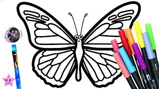Coloring Butterfly 3D heart Colouring Page, Learn to Color | Art for Kids BCL ❤️