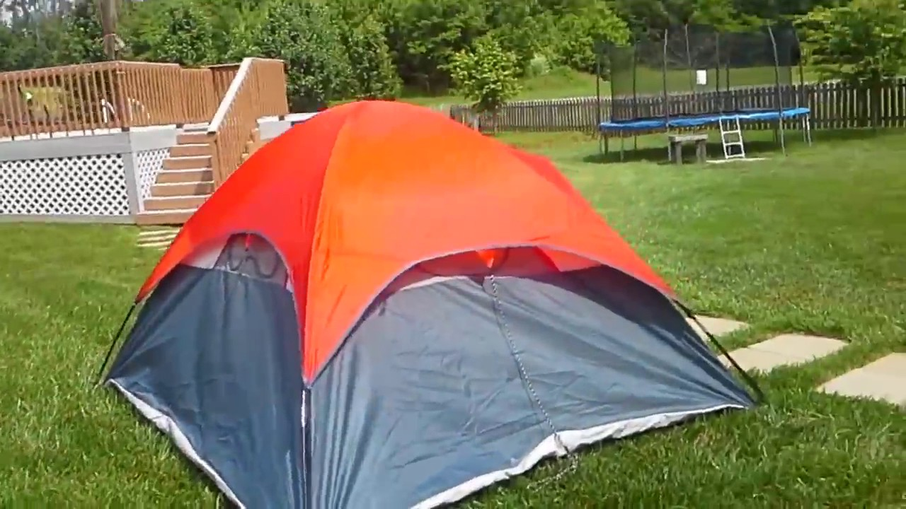 Ozark trail 4 person dome tent set up not instant & Ozark trail 4 person dome tent set up not instant - YouTube