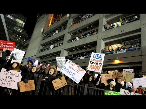 """""""Let Them In"""": Thousands Descend on Nation's Airports to Protest Trump's Refugee & Muslim Ban"""