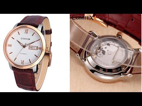 おしゃれなComtex 巻き上げ式腕時計 S6361G-3 ローズゴールド 裏面シースルー 開封