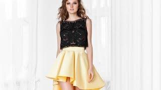 Вечернее платье с кружевным топом и юбкой переменной длины