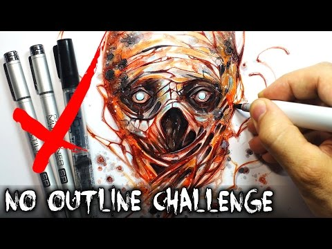 No Outline Art Challenge + True Horror Story (Creepypasta Drawing)