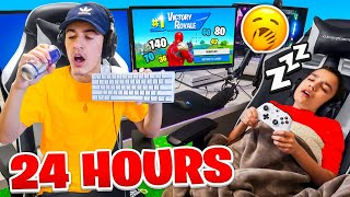 Last To Leave Fortnite Gaming Setup Wins 100,000 VBUCKS Challenge With Little Brother!