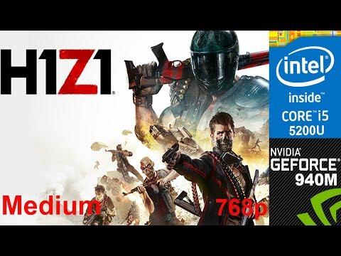 H1Z1 on HP Pavilion 15-ab032TX, Medium Setting, 768p, Core i5 5200u + Nvidia Geforce 940m