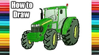 John Deere Tractor Drawing l How to Draw John Deere Tractor by ck arts