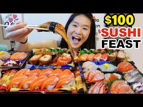 $100 SUSHI FEAST!! Salmon Sashimi, Nigiri, Sushi Rolls, Seafood | Japanese Food Eating Show Mukbang