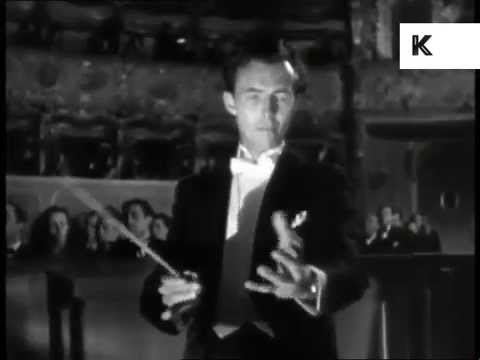 1940s Opera House, Audience Give Conductor Standing Ovation, Applause