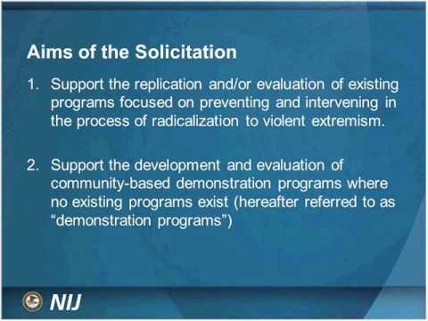 Research & Evaluation on Domestic Radicalization to Violent Extremism, Solicitation Webinar