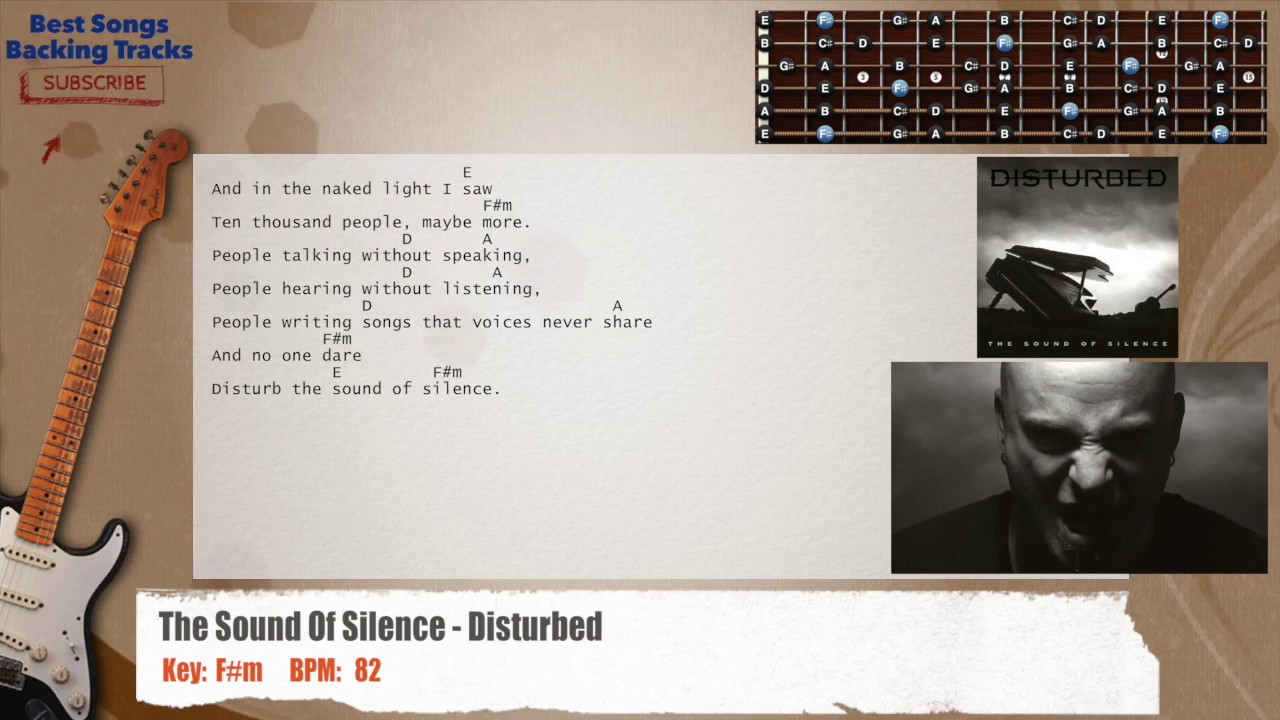 The Sound Of Silence Disturbed Guitar Backing Track With Chords