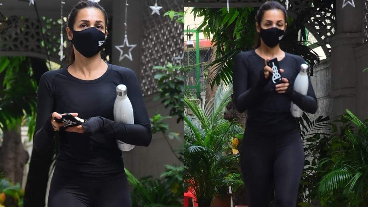Malaika Arora Khan in Black Outside Gym - YouTube