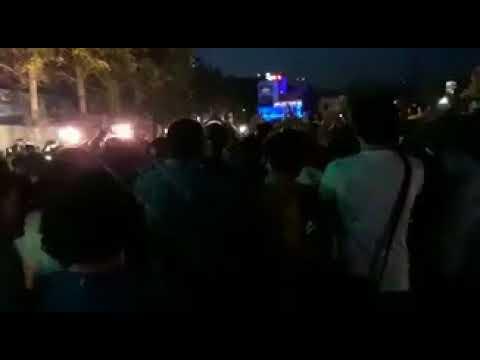 """TEHRAN, Iran, June 25, 2018. Protesters chanting:""""No to Gaza, no to Lebanon. My life for Iran""""."""