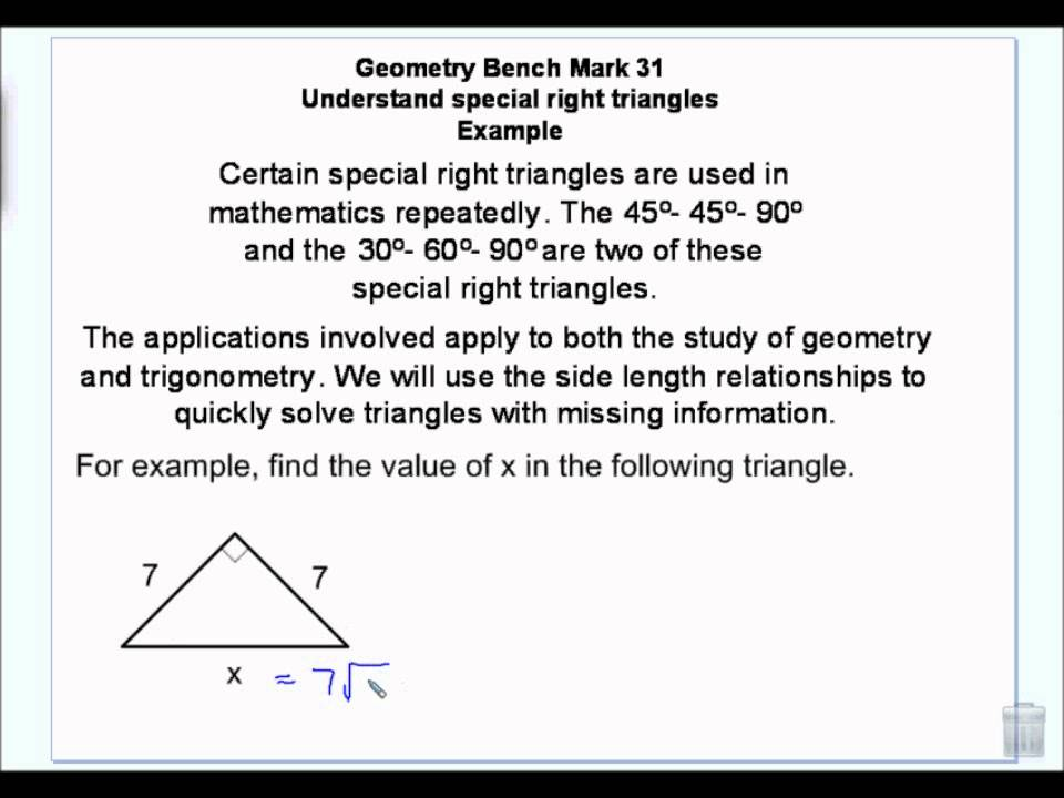 understanding special right triangles 30 60 90 and 45 45 90 wmv youtube. Black Bedroom Furniture Sets. Home Design Ideas
