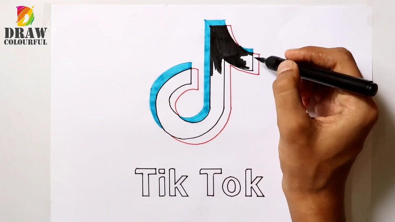 Tiktok Tattoo Steps: Tik Tok Logo Drawing Step By Step