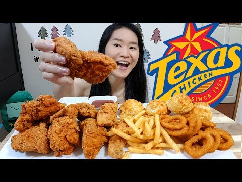 CHURCH'S / TEXAS CHICKEN! Fried Chicken, Honey Butter Biscuits, Onion Rings | Eating Show Mukbang