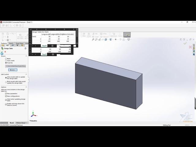 Table de design paramétrique avec SOLIDWORKS 3DEXPERIENCE