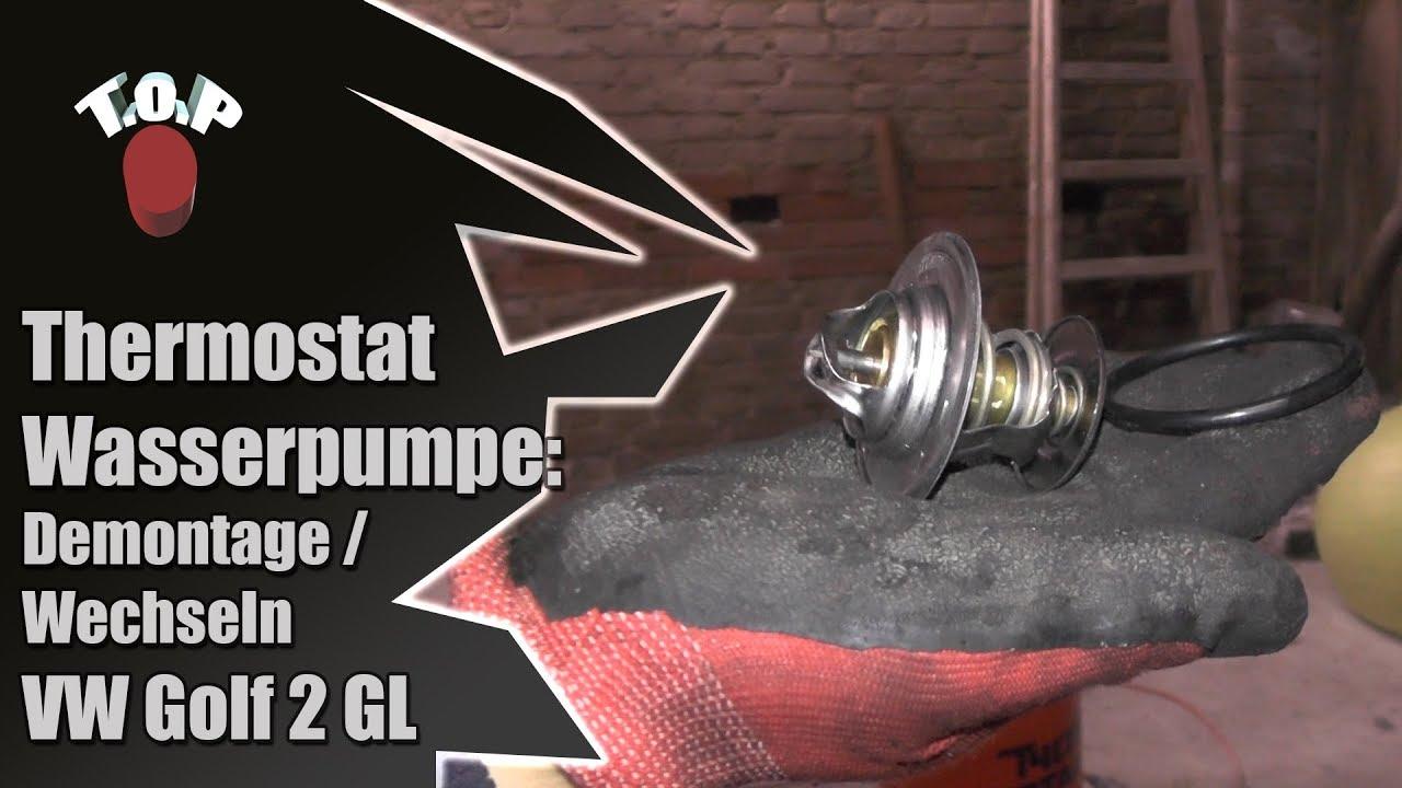 VW Golf 2 GL 1.8 Thermostat Wasserpumpe wechseln / demontieren ...